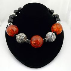 Handmade Artisan Large Bohemian Onyx, Baltic Pressed Amber and .925 Sterling Silver Choker Necklace