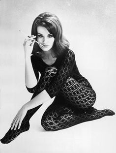 """James Bond girl Claudine Auger - The former Miss France played Dominique """"Domino"""" Derval in Thunderball Julie Christie, Raquel Welch, James Bond Women, Claudine Auger, 60s And 70s Fashion, James Bond Movies, Vogue, Luxury Lingerie, Lace Bodysuit"""