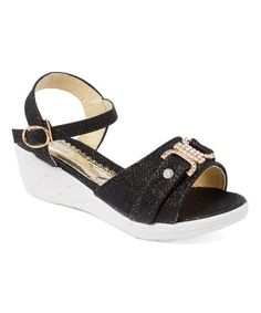 Black Ava Wedge Sandal #zulily #zulilyfinds