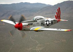 """This Mustang, """"Tempus Fugit"""" is owned by Tony Raftis, it served as a P-51D with the Royal Swedish Air Force before being sold to the Nicaraguan air force.   Its restoration as a TF-51 two-seat trainer was only completed in 2006"""