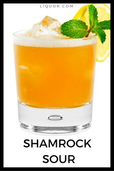The perfect cocktail for St. Patrick's Day, the Shamrock Sour combines Bourbon and Chartreuse. Try this simple cocktail at your next St. Bourbon Cocktails, Easy Cocktails, Classic Cocktails, Fun Drinks, Yummy Drinks, Alcoholic Drinks, Beverages, Cocktail Glass, Cocktail Drinks