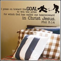 Philippians 3:14 Hockey Theme - A Great Impression. For the boys' room