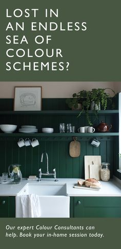 A Farrow & Ball in-home colour consultancy is an extra helping hand in creating a home you can't wait to come back to, offering off your Farrow & Ball décor order on all bookings in February. Farrow Ball, Farmhouse Kitchen Decor, Kitchen Dining, Coastal Farmhouse, In Loco, Modern Interior, Interior Design, Green Kitchen, House Colors