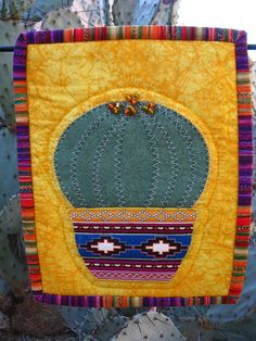 Barrel Cactus Mini Appliquéd 7 X 10 Quilted by SonoranExpressions, $30.00