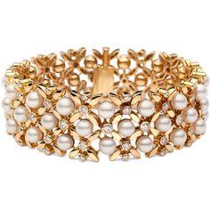 Blue Nile Estate Vintage Akoya Pearl & Diamond Bracelet ($18,750) ❤ liked on Polyvore featuring jewelry, bracelets, blue nile, 18 karat gold jewelry, diamond jewelry, pearl bangle and blue nile jewelry