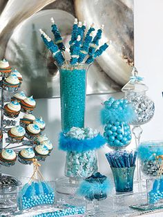 What goes into putting together a creative candy table? A top West Coast event designer shares his confection perfection. Blue Candy Buffet, Candy Buffet Tables, Dessert Buffet, Buffet Ideas, Bar Ideas, Frozen Candy Buffet, Blue Candy Bars, Lolly Buffet, Dessert Tables