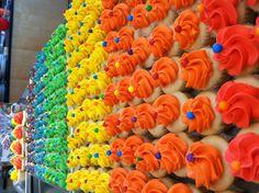 rainbow cupcakes, those are tiny jawbreakers on top Dance Cupcakes, Rainbow Cupcakes, Baking, Desserts, Top, Tailgate Desserts, Deserts, Bakken, Postres