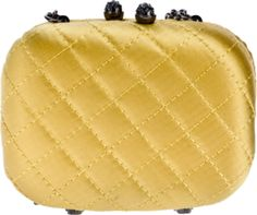 Yellow satin box clutch from Philosophy Di Alberta Ferretti featuring a stitched quilted effect, a snap clock closure with a silver-tone gem encrusted clasp detail, a silver-tone chain link shoulder strap and a contrasting black lining with an embossed designer patch.