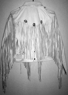 Mens custom made White leather Fringe jacket Bon Jovi style back image