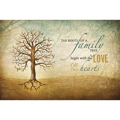 MA225 - The Roots of a family tree begin with the Love of Two Hearts / Textured, finished wall decor ready to hang by Marla Rae