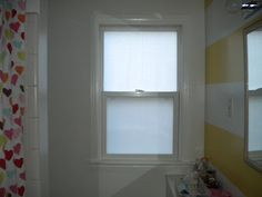 Love Hue Design: Oh, Hey Neighbs! - diy frosted glass windows - privacy with fabric and cornstarch