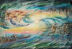 Abstract oil painting by Turkish Artist Naci on canvas, original oil painting.Made in shipping worldwide, case includedIf you need any further information, feel free to contact me.