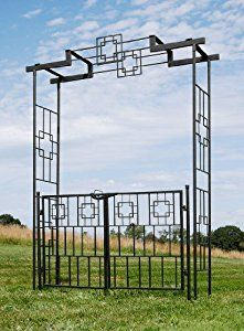 Amazon.com : Achla Designs Square-on-Squares Gate : Arbors : Patio, Lawn & Garden