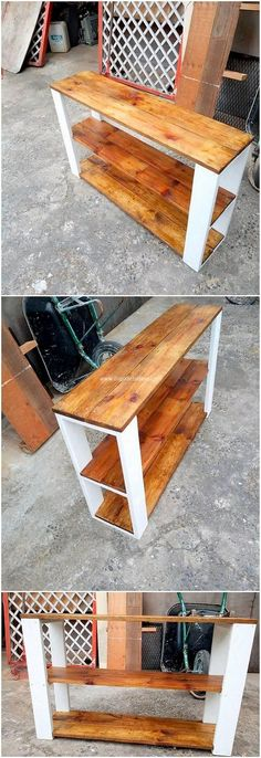 This awesome shelving table project is amazingly set all out with the perfect finishing of the wood pallet stroke use over it. It is incredibly lovely looking because the compact and moderate size shaping being part of it. Bring it in your house right now Diy Pallet Furniture, Diy Pallet Projects, Woodworking Projects, Pallet Ideas, Modern Furniture, Antique Furniture, Furniture Storage, Woodworking Wood, Furniture Ideas