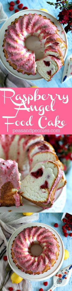 Beautiful vanilla bean raspberry angel food cake is tender and soft, perfectly finished with a pink raspberry lemon glaze.