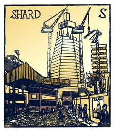 """S - The Shard"" from ""London A-Z"" Complete Boxed Set linocuts by Tobias Till, 2012. http://www.tobias-till.co.uk/."