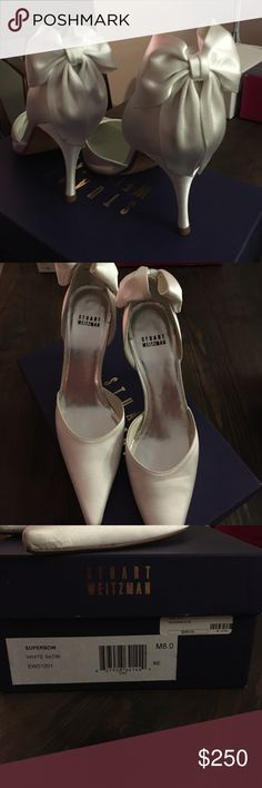 "Stuart Weitzman satin wedding  bow pumps Gorgeous sophisticated wedding pumps. Satin swatch included for dye testing. Comes in original plastic and box. Never worn. Brand new. 3"" heel. Stuart Weitzman Shoes Heels"