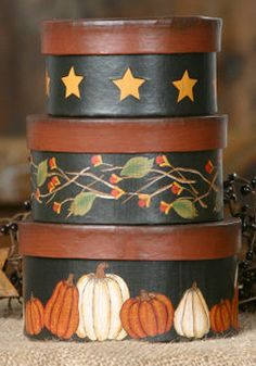 ~ Painted Hat Boxes ~ I think this is do-able....