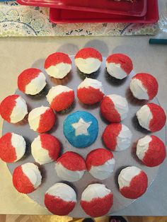 Captain America cupcake shield...super easy!