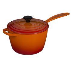 Le Creuset LS2518-202 Signature Cast Iron Sauce Pan, 3.25-Quart, Flame