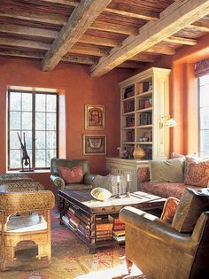 obsessed with wooden beams, and this color scheme.
