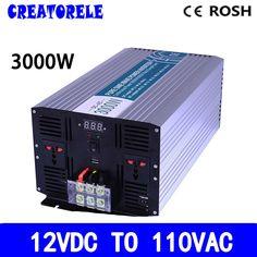 283.10$  Watch now - http://aliwfa.worldwells.pw/go.php?t=32768943312 - P3000-121 12v to 110v inverter 3000w 12v 110v off grid pure sine wave voltage converter solar inverter,LED Display 283.10$
