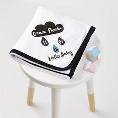 New Baby Cloud Print Baby Blanket