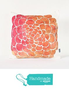 """Watercolor Floral Pillow Cover in Hot Pink, Orange, Coral, Yellow / Pink Floral Cushion / Coral Pillow / Succulent Cushion / 18"""" x 18"""" Throw Pillow from Nirwa http://www.amazon.com/dp/B015H9CRRM/ref=hnd_sw_r_pi_awdo_5zyOwb12JX7ZP #handmadeatamazon"""