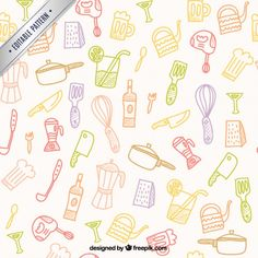 Pattern Design, Print Design, Free Pattern, My Design, Vector Hand, Elements Of Art, Kitchen Tools, Hand Tools, Wallpaper