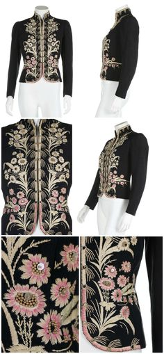 An Elsa Schiaparelli couture daisy-embroidered jacket, Autumn-Winter, 1937-38, of midnight blue grosgrain moiré silk, embroidered in ivory corded silk, the flowers with sequin and pearl bead centres, the blossoms near the hem hand painted in pink, lined in black silk, with stand collar, lightly padded shoulders, hook and eye fastenings. Worn by Sheila Grant-Smith as part of her wedding trousseau when she married Robert John Wastel Arbuthnot-Brisco on 15th February 1940. Kerry Taylor…