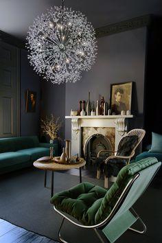 Maxim Lighting Starfire 44 Chandelier in Polished Chrome Gothic Living Rooms, My Living Room, Living Room Decor, Living Spaces, Dark Blue Living Room, Basket Lighting, Interior Minimalista, Dark Interiors, Interior Design Tips