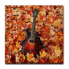 Gibson Mandolin (Mandola) in Autumn Leaves Tile Coaster ($5.99)