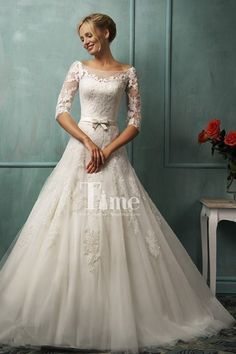Open Back Ball Gown Scoop Half Sleeves with Belt Wedding Dresses with Buttons WD149959