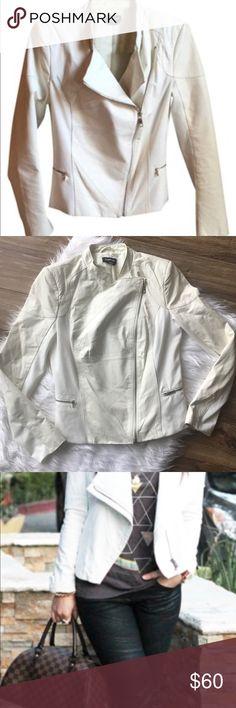 Bebe white leather jacket Bebe white leather jacket. Size medium. EUC. From smoke free pet free home. bebe Jackets & Coats