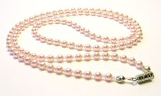 Delicate Vintage Pink Glass Pearl Long Necklace by SwankyJewels, €25.00