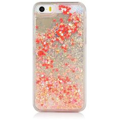 iPhone 5/5S Coral Iridescent Glitter Case (€31) ❤ liked on Polyvore featuring accessories, tech accessories, electronics and phone cases