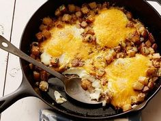 one pot Baked Eggs with Farmhouse Cheddar and Potatoes Recipe : Food Network Kitchen : Food Network One Pot Vegetarian, Vegetarian Recipes, Cooking Recipes, Healthy Recipes, Iron Skillet Recipes, Cast Iron Recipes, Skillet Meals, Brunch Recipes, Breakfast Recipes