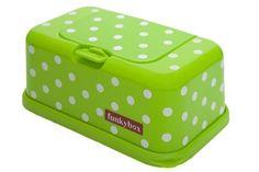 Funkybox – Cajita para toallitas húmedas – Verde con lunares blancos