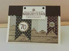 Stampin´up! Pop-up-Karte mit Fähnchen und Hardwood Stempel zum 70. Geburtstag. Schicke Karte für einen Mann!