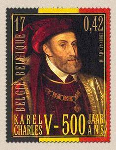 Bélgica. Tema: Emisión conjunta sellos España - Bélgica. Descripción: 500 aniversario del nacimiento del emperador Carlos V.
