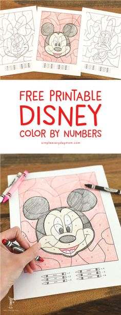 Free Printable Disney Color By Number Coloring Sheets | Download these 3 free color by number worksheets that feature Mickey Mouse, Minnie Mouse and Pluto. This is a great activity for kids that's quick, simple and fun! #disney #disneyprintables