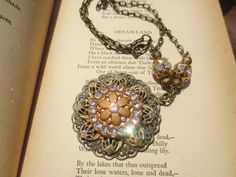 Necklace Rhinestone Filigree Flower Vintage Reclaimed by BlancheB, $28.00