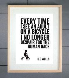 G Wells Human Race Cycling Typography Print - Various Sizes 34c83ca6e