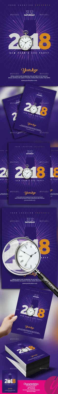 2018 NYE Minimalistic Flyer - Clubs & Parties Events