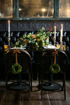 greenery chair decor - photo by Sarah Esther Photography http://ruffledblog.com/st-patricks-day-wedding-inspiration-at-a-pub #ewddingideas #reception #weddingreception