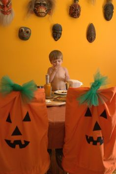 DIY pillowcase jack-o-lantern chair covers