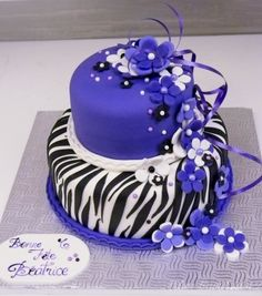 Zebra stripes and purple cake By buttercreamfantaisies on CakeCentral.com