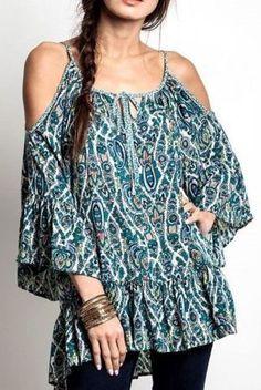 CHELSEA VERDE Bohemian Blue or Desert Cold-Shoulder Cotton Blouse Tunic