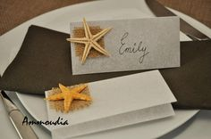 Beach wedding place cards with white quality paper and real starfish - beach themed bridal shower - beach party cards- baby shower beach- on Etsy, $1.42 CAD