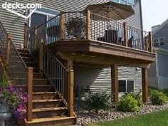 Image result for backyard view split level with balcony & landscaping
